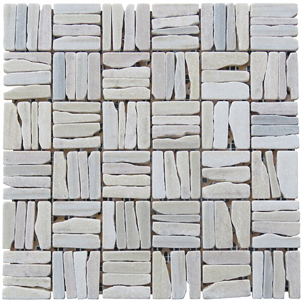 Landscape Wonder 12 x 12 Quartzite Alternate Natural Stone Mosaic Tile in White by Intrend Tile