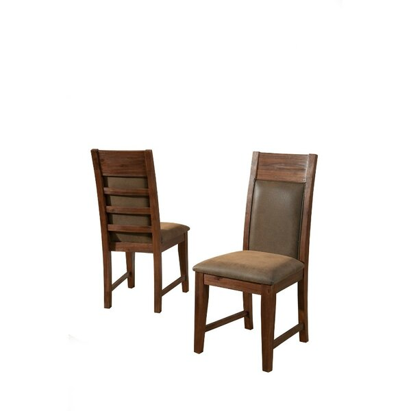 Willeford Slatted High Back Genuine Leather Upholstered Dining Chair (Set of 2) by Loon Peak
