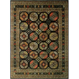 Oneman Hand-Knotted Wool Black Area Rug ByWorld Menagerie