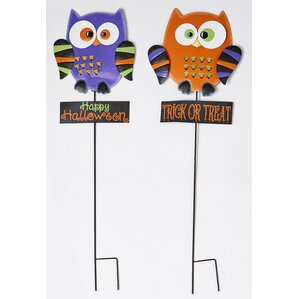Lovely Metal Owl Garden Stake (Set Of 2)