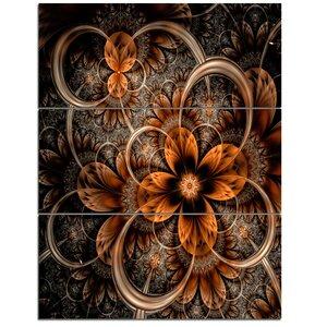 Dark Orange Digital Art Fractal Flower - 3 Piece Graphic Art on Wrapped Canvas Set by Design Art