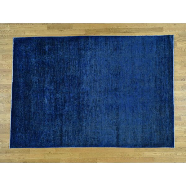 One-of-a-Kind Beaumont Overdyed Handwoven Blue Wool Area Rug by Isabelline