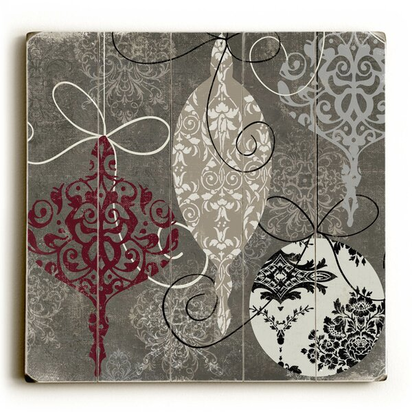Silver Ornaments Graphic Art Plaque by Red Barrel