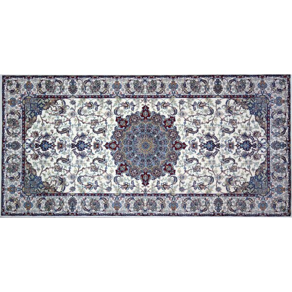 Nussbaum Hand Look Persian Wool Ivory/Blue Area Rug