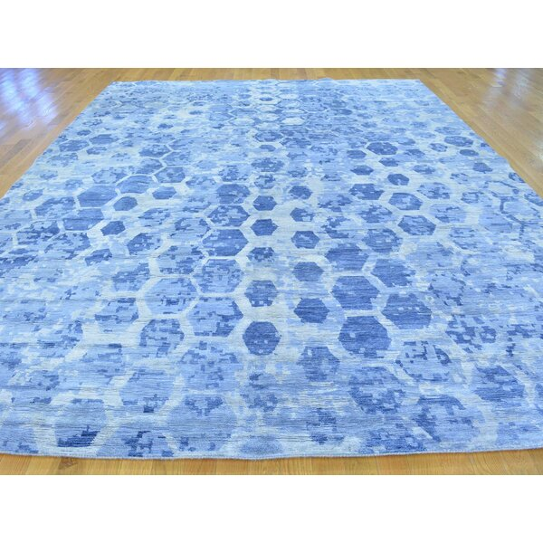 One-of-a-Kind Breccan The Honeycomb Award Winning Design Art Hand-Knotted Blue Silk Area Rug by Isabelline