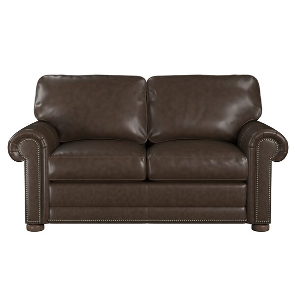 Fine Brand Odessa Leather Loveseat by Westland and Birch by Westland and Birch