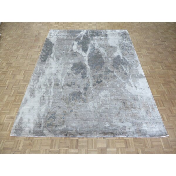 One-Of-A-Kind Dunamuggy Hand-Knotted 811 X 1111 Wool/silk Gray/beige/ivory Area Rug By Isabelline.