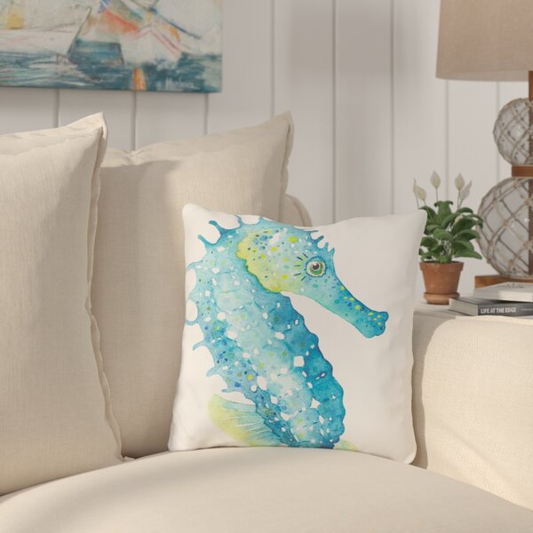 Holmgren Seahorse Outdoor Throw Pillow by Highland Dunes