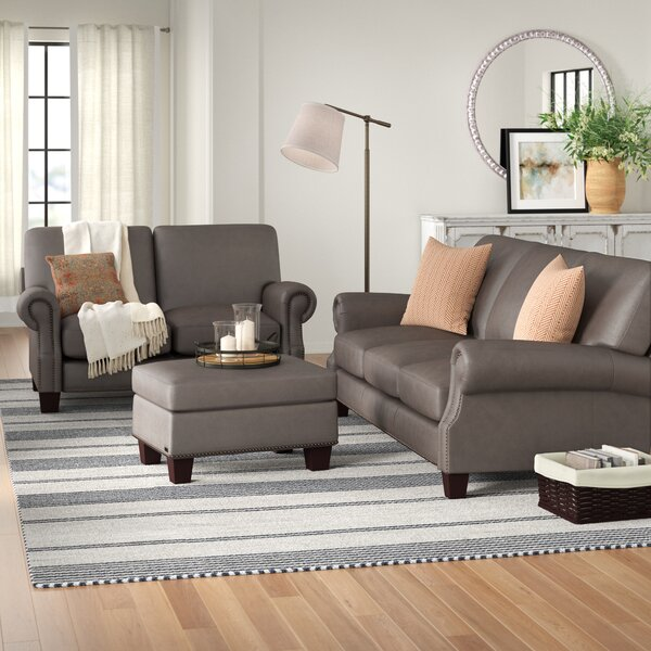 Modern Collection Whipton Leather Sofa by Three Posts by Three Posts