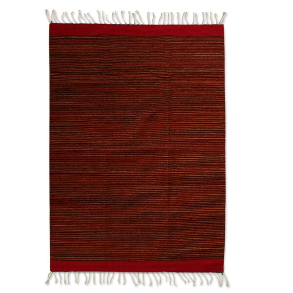 Reeside Hand-Woven Wool Red Area Rug by Bloomsbury Market
