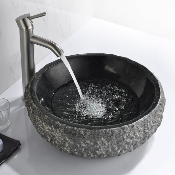 Dragons Mandy Black Stone Circular Vessel Bathroom Sink