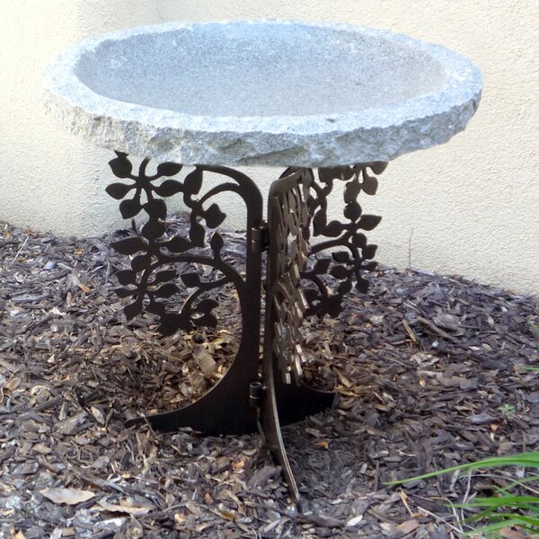 Tree Silhouette Birdbath by Stone Age Creations