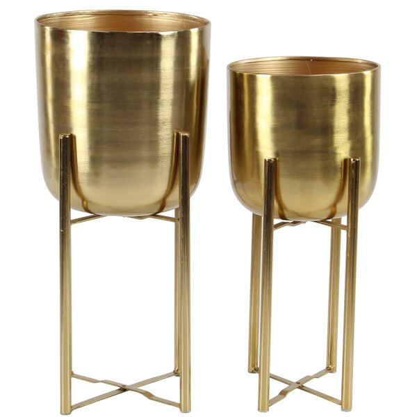 Owings Contemporary 2-Piece Metal Pot Planter Set by George Oliver