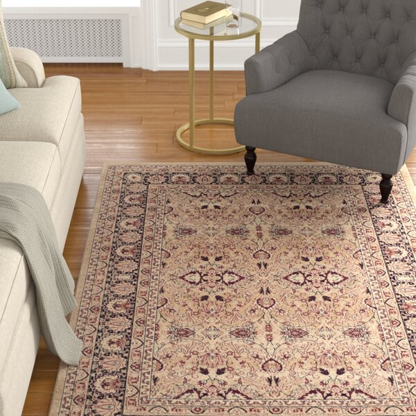 Marion Cream/Navy Area Rug by Darby Home Co