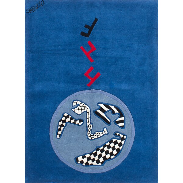 Althoff Abstract Art Hand-Tufted Blue/Black/Red Area Rug by Latitude Run