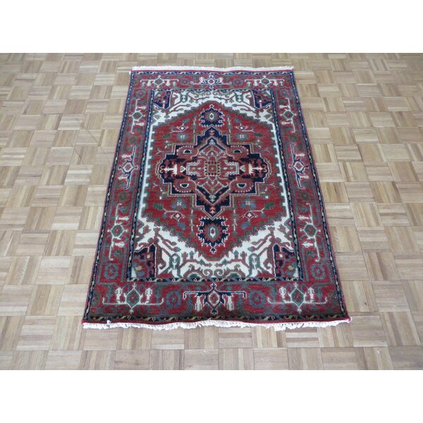 One-of-a-Kind Pellegrino Serapi Heriz Hand-Knotted Wool Brick Red Area Rug by Bloomsbury Market