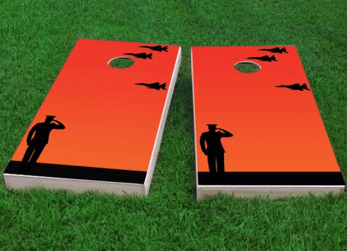 Missing Man Flight Formation Salute Cornhole Game (Set of 2) by Custom Cornhole Boards