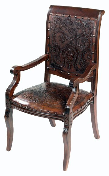 Navarette Handtooled Leather Armchair (Set of 4) by Astoria Grand