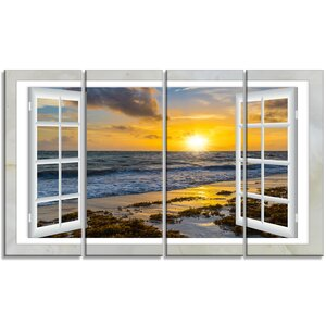 'Open Window to Bright Yellow Sunset' 4 Piece Graphic Art on Wrapped Canvas Set by Design Art