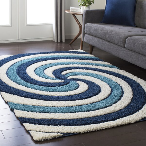 Marketfield Soft Swirly Shag Blue Area Rug by Wrought Studio