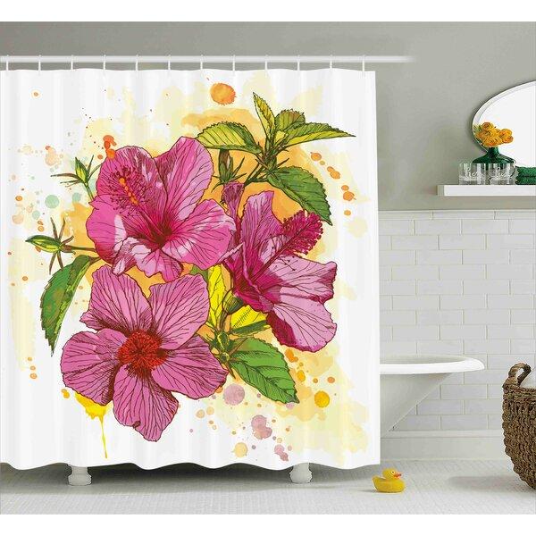 Adrienne Vibrant Hibiscus Flower Bouquet Exotic Elegance Watercolor Art Shower Curtain by Ebern Designs