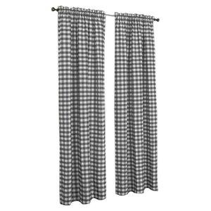 Haylee Plaid & Check Sheer Rod Pocket Single Curtain Panel