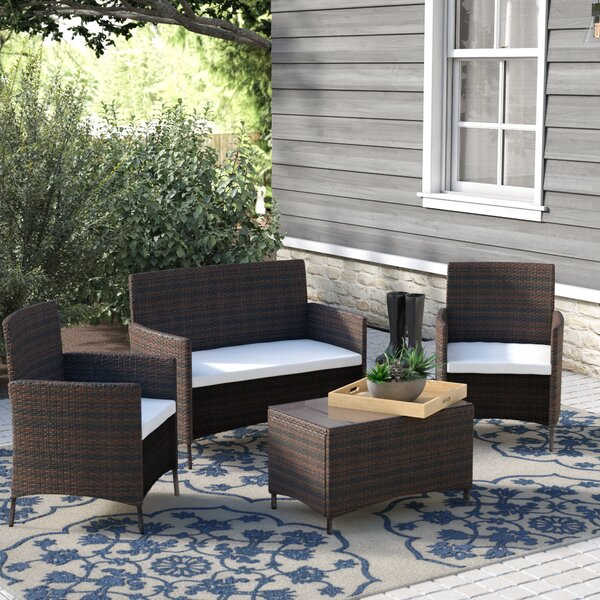 4 Piece Rattan Sofa Seating Group with Cushions by Merax