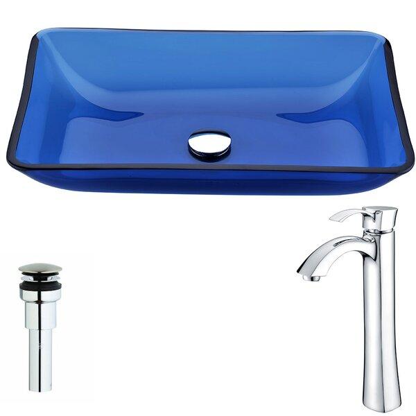 Harmony Cloud Blue Rectangular Vessel Bathroom Sink with Faucet