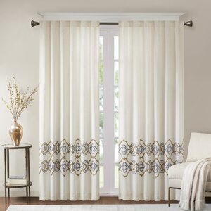 Akemi Border Embroidered Room Darkening Rod Pocket Single Curtain Panel