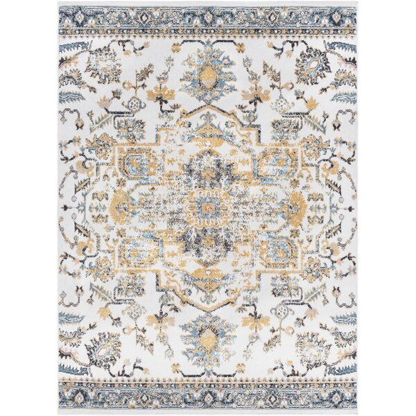 Madeley Distressed Mustard/Cream Area Rug by Charlton Home