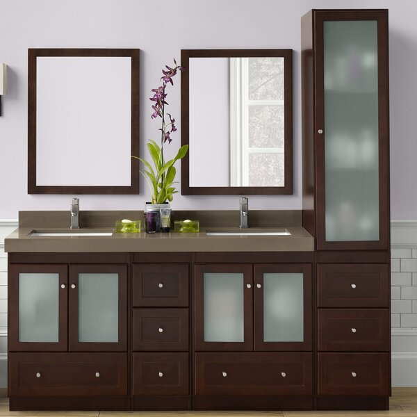 Shaker 61 Double Bathroom Vanity Set with Mirror by Ronbow