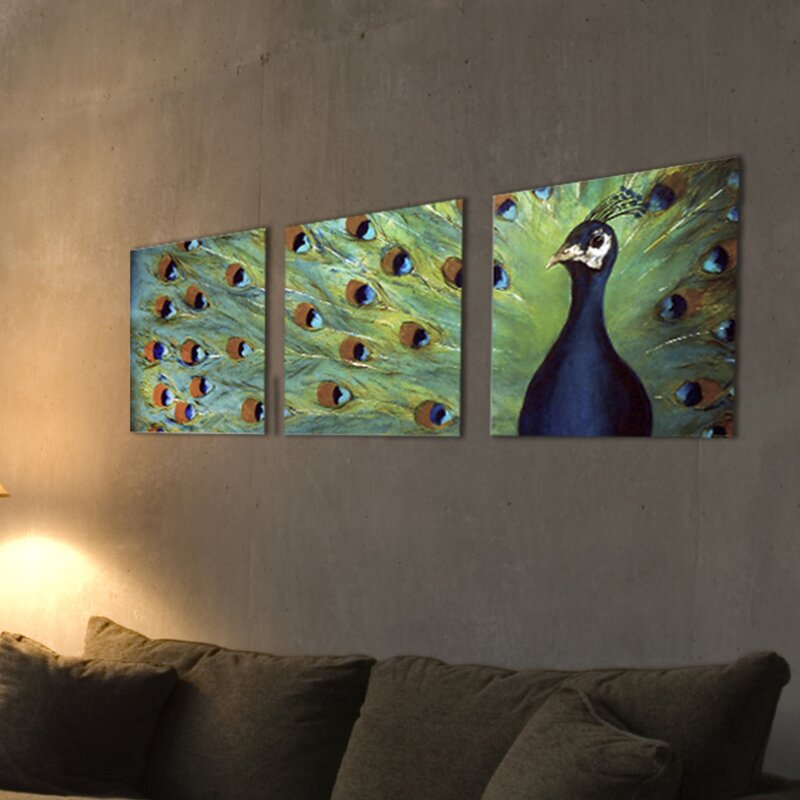 Prized Peacock 3 Piece Triptych Canvas Wall Art Set