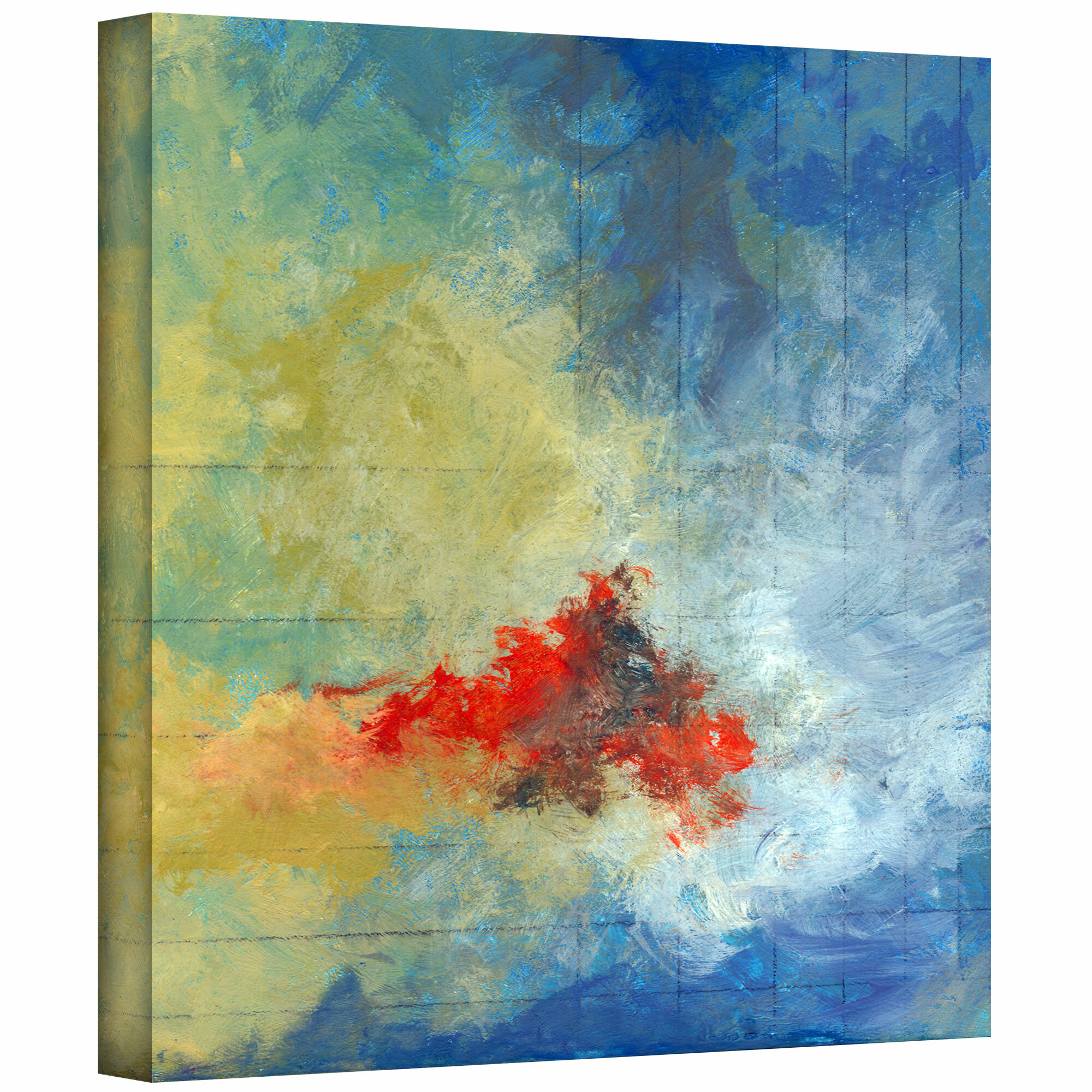 Artwall Earth And Lines Ii By Jan Weiss Painting Print On Wrapped Canvas Wayfair