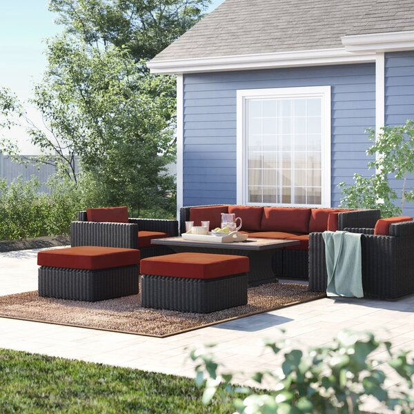 Fairfield 9 Piece Rattan Sectional Seating Group with Cushions by Sol 72 Outdoor