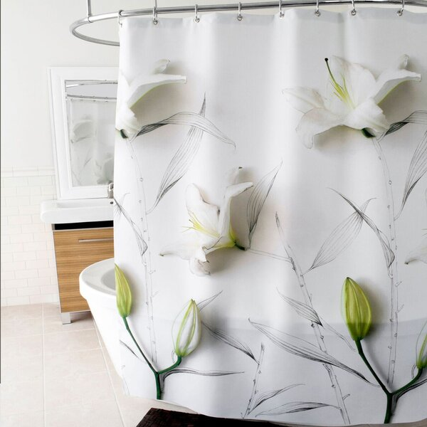 3D Lilies Floral Polyester Shower Curtain by East Urban Home