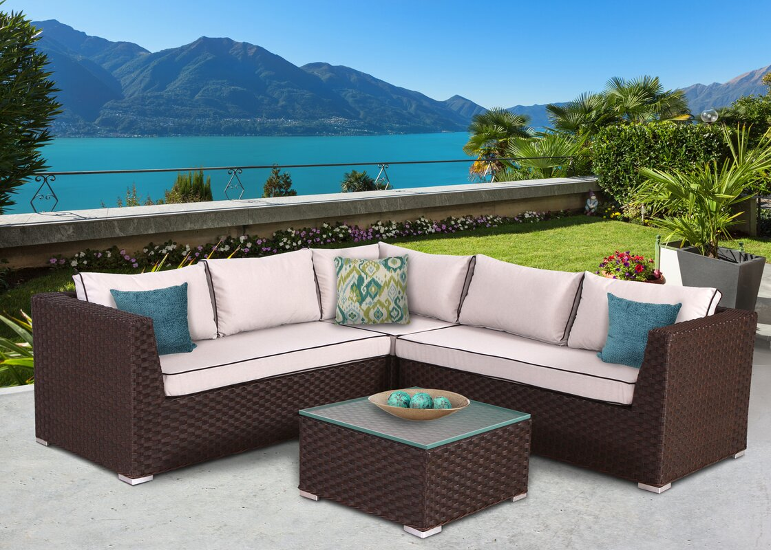 Popular Mesquite 4 Piece Sectional Set With Cushions By