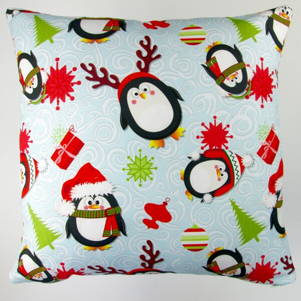 Christmas Holiday Penguins Throw Pillow Cover by Artisan Pillows