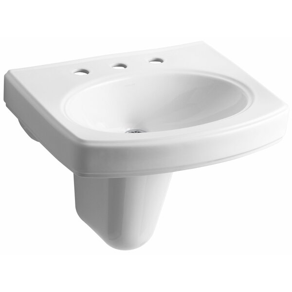Pinoir Ceramic 22 Wall Mount Bathroom Sink with Overflow by Kohler