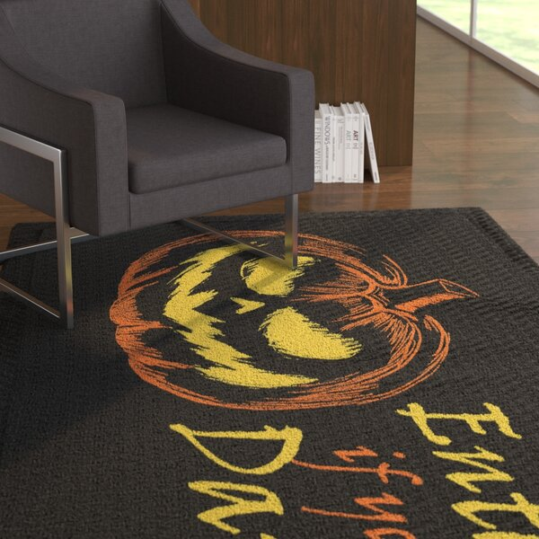 Madison Enter If You Dare Black Area Rug by The Holiday Aisle