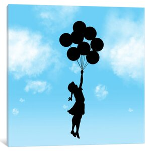 Balloon Girl Flying by Banksy Graphic Art on Wrapped Canvas by iCanvas