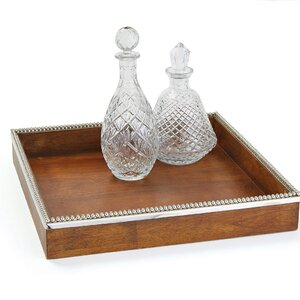 Polished Nickel Wood and Metal Tray
