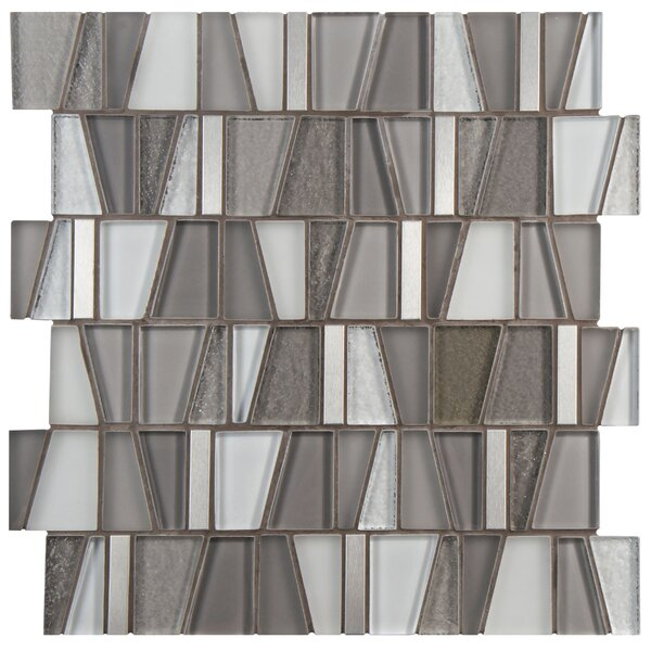 Trapeze 11.87 x 11.75 Glass/Brushed Aluminum Mosaic Tile in Gray by EliteTile