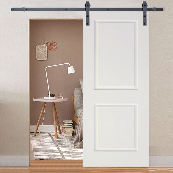 Classic Bent Strap Sliding Track Hardware MDF 2 Panel Primed Interior Barn Door by Calhome