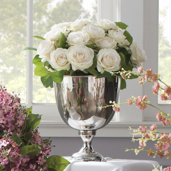Rose Bouquet in Silver Metal Urn by Jane Seymour Botanicals