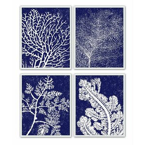 Coral Silkscreen 4 Piece Framed Graphic Art Set by PTM Images