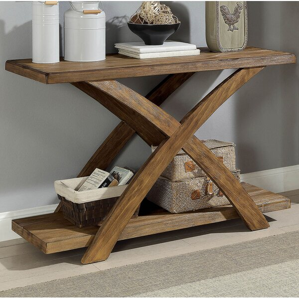 Review Temperence Wooden Angled X-Shaped Console Table