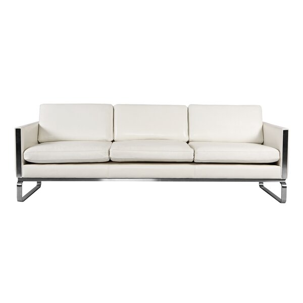 Internet Purchase Aina Mid Century Modern Leather Sofa by Comm Office by Comm Office