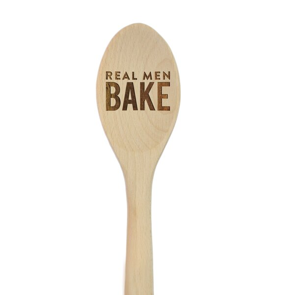 Real Men Bake Laser Engraved Wooden Mixing Spoon by Koyal Wholesale