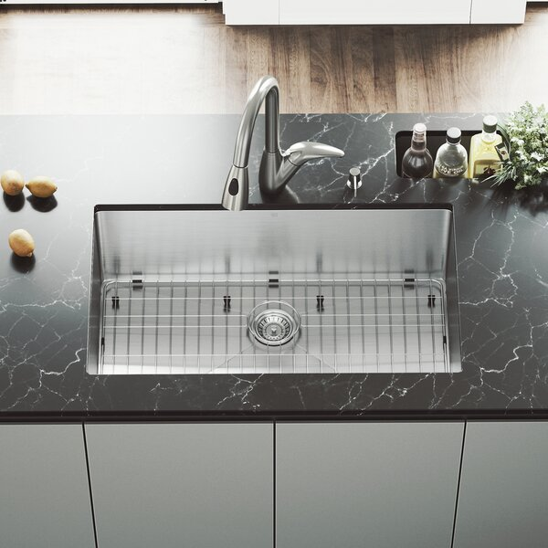 32 inch Undermount Single Bowl 16 Gauge Stainless Steel Kitchen Sink with Romano Stainless Steel Faucet, Grid, Strainer and Soap Dispenser by VIGO
