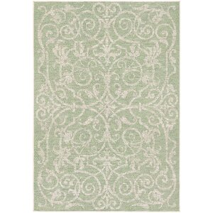 Arnegard Ivory/Light Green Indoor/Outdoor Area Rug